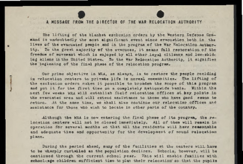 Message from D.S. Myer, the Director of the War Relocation Authority (ddr-csujad-55-182)
