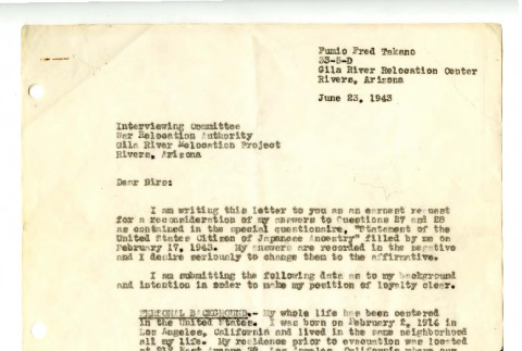 Letter from Fumio Fred Takano to Interviewing Committee, War Relocation Authority, Gila River Relocation Project, June 23, 1943 (ddr-csujad-42-91)