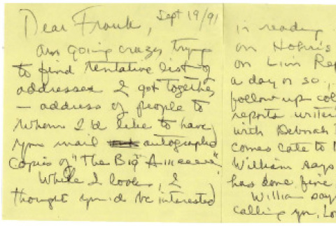 Letter from Michi Weglyn to Frank Chin, September 19, 1991 (ddr-csujad-24-71)