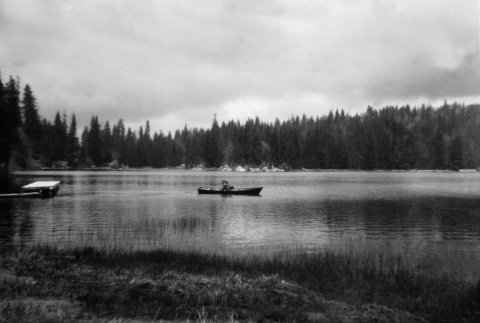 Camper in a row boat on Lake Sequoia (ddr-densho-336-26)