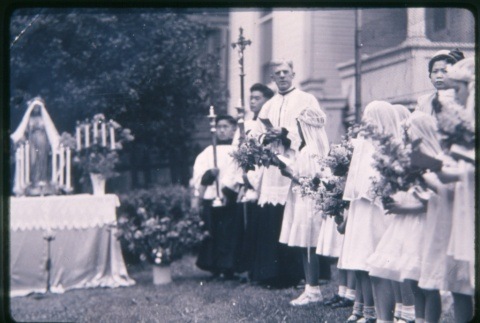 Priest and girls outside building (ddr-densho-330-28)