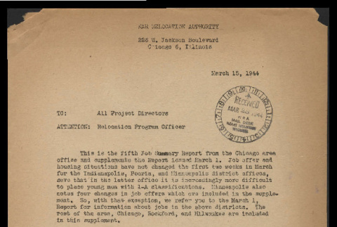 Memo from Vernon R. Kennedy, Relocation Supervisor, War Relocation Authority to all project directors, March 15, 1944 (ddr-csujad-55-980)