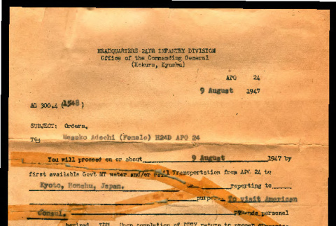 Orders from Headquarters 24th Infantry Division, Office of Commanding General, to Masako Adachi, August 9, 1947 (ddr-csujad-55-2236)