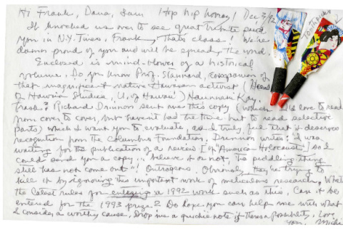 Letter from Michi Weglyn to Frank Chin, December 3, 1992 (ddr-csujad-24-98)