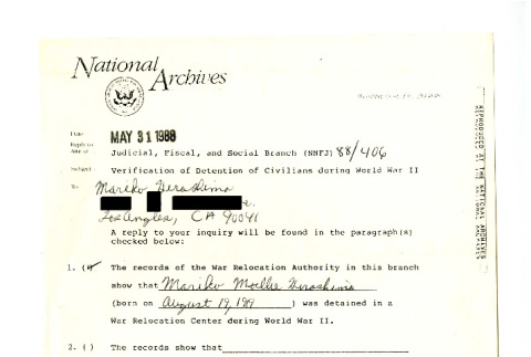Letter from Philip R. Ward Sr., Judicial, Fiscal, and Social Branch Civil Archives Division, National Archives and Records Administration to Mariko Hirashima, May 31, 1988 (ddr-csujad-42-145)
