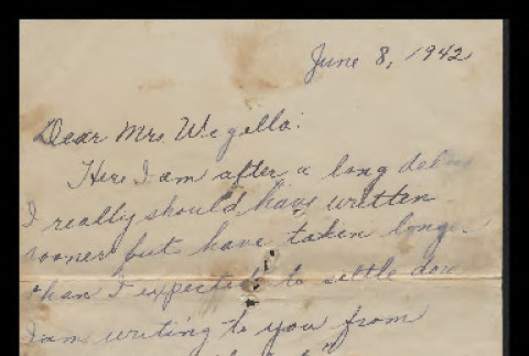 Letter from Minnie Umeda to Mrs. Waegell, June 8, 1942 (ddr-csujad-55-59)