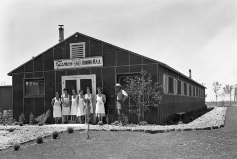 Dining hall workers in front of Farmers' Dining Hall 46 (ddr-fom-1-23)