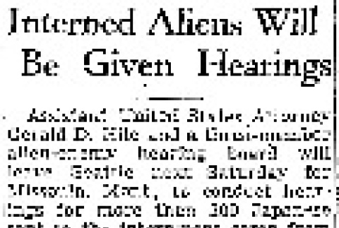Interned Aliens Will Be Given Hearings (January 18, 1942) (ddr-densho-56-581)