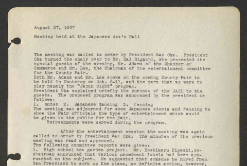 Meeting of the Monterey Peninsula Japanese American Citizens League, August 27, 1937 (ddr-csujad-44-74)