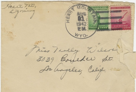 Letter (with envelope) to Molly Wilson from Miyeko Imamura (August 30, 1942) (ddr-janm-1-63)