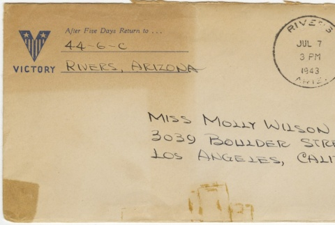 Letter (with envelope) to Molly Wilson from June Yoshigai (July 7, 1943) (ddr-janm-1-83)