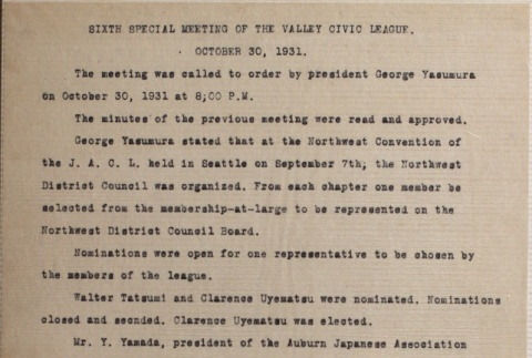Minutes of the sixth Valley Civic League special meeting (ddr-densho-277-24)
