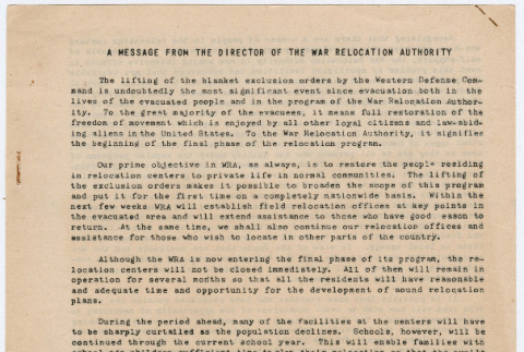 Message from the Director of the War Relocation Authority and Summery of WRA Policies and Procedures for the Final Phase of the Relocation Program (ddr-densho-356-923)