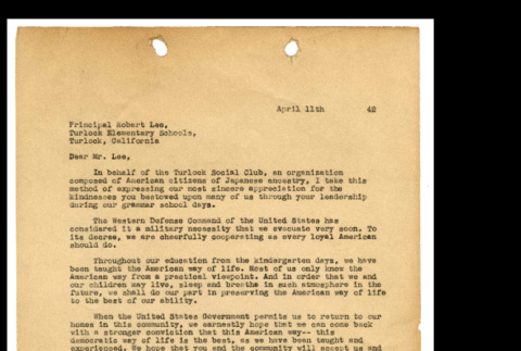 Letter from Tsuneo Iwata to Robert Lee, April 11, 1942 (ddr-csujad-46-7)
