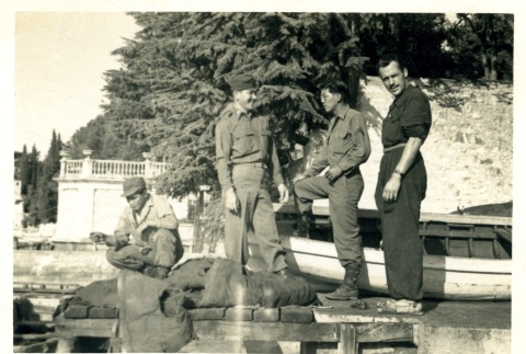 Soldiers on a dock (ddr-densho-22-239)