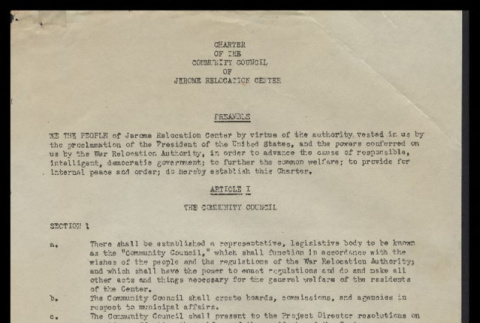Charter of the community council of Jerome Relocation Center (ddr-csujad-55-40)