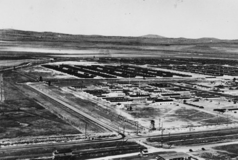 Aerial view of unidentified incarceration camp (ddr-csujad-14-27)