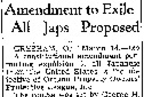 Amendment to Exile All Japs Proposed (March 14, 1945) (ddr-densho-56-1107)
