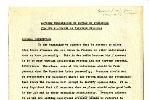 Revised Suggestions on Method of Procedure for the Placement of Japanese Evacuees (ddr-csujad-18-11)