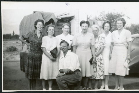 Photograph of Dr. Little with hospital nurses (ddr-csujad-47-317)