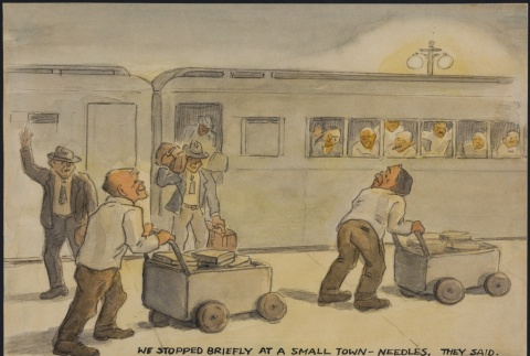 Painting of internees on the train leaving Santa Fe Internment Camp (ddr-manz-2-39)
