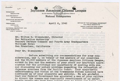 Letter to Milton S. Eisenhower, Director WRA from Mike Masaoka (ddr-densho-122-270)