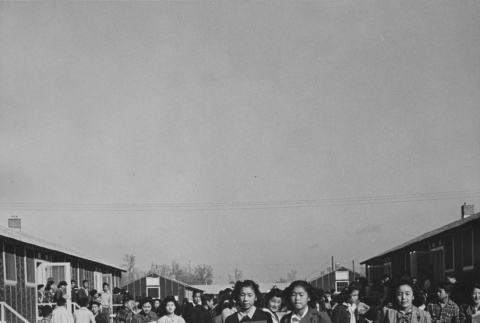 High school students changing classes at Rohwer incarceration camp (ddr-csujad-14-62)