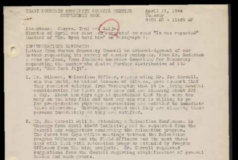 Minutes from the Heart Mountain Community Council meeting, April 11, 1944 (ddr-csujad-55-550)