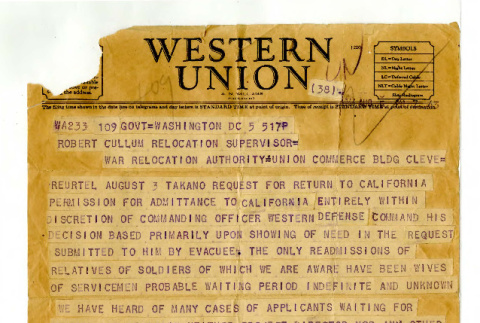 Telegram from G. Arnold to Robert Cullum, Relocation Supervisor, War Relocation Authority, August 5, 1944 (ddr-csujad-42-104)