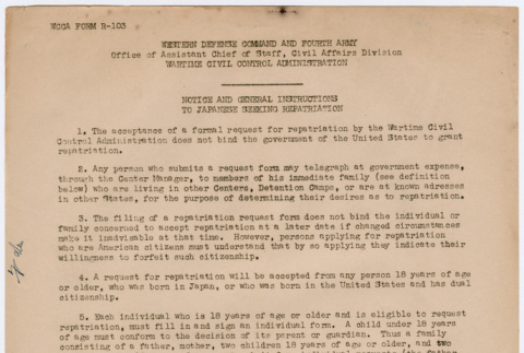 Notice and General Instructions to Japanese Seeking Repatriation (ddr-densho-356-976)