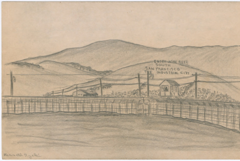 Drawing of the San Francisco sign on the hills outside of Tanforan Assembly Center (ddr-densho-392-9)
