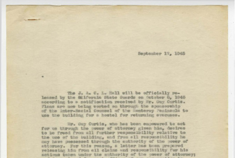 Letter from Jimmie Tabata, First Vice President, Japanese American Citizens League Monterey Peninsula to Japanese American Citizens League of Monterey Peninsula Board Members, September 17, 1945 (ddr-csujad-44-3)