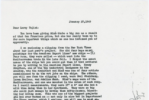Letter to Larry Tajiri from Margaret Anderson, editor of Common Ground (ddr-densho-338-464)