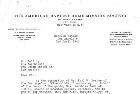 Letter from the American Baptist Home Mission Society (ddr-densho-157-206)