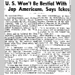 U.S. Won't Be Bestial With Jap Americans, Says Ickes (April 13, 1944) (ddr-densho-56-1036)