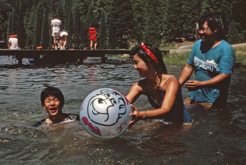Campers playing games in the lake (ddr-densho-336-1605)