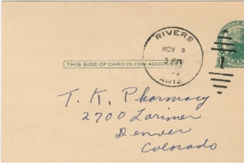 Letter sent to T.K. Pharmacy from Gila River concentration camp (ddr-densho-319-304)