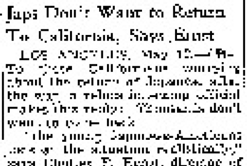 Japs Don't Want to Return to California, Says Ernst (May 12, 1943) (ddr-densho-56-914)