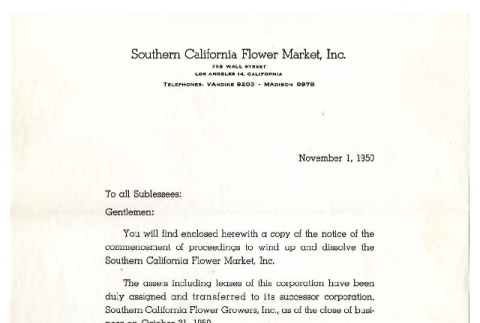 Letter from Southern California Flower Market, Inc. to Mr. S. [Sei] Hamada, November 1, 1950 (ddr-csujad-5-303)