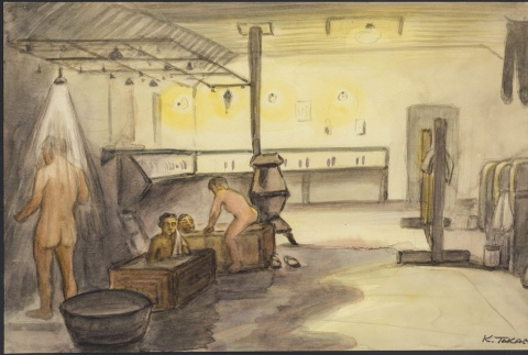 Painting of the shower room at Santa Fe Internment Camps (ddr-manz-2-31)