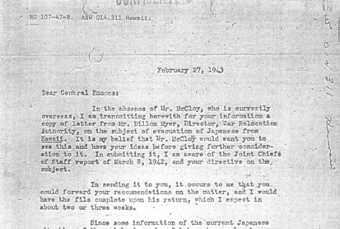 Letter from Col. William Scobey to Gen. Delos Emmons (ddr-densho-67-55)