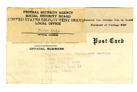 Postcard from Federal Security Agency and  Social Security Board to United States Employment Service Idaho Division, September 6, 1942 (ddr-csujad-38-551)