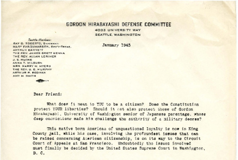 Letter to Dear Friend from the Gordon Hirabayashi Defense Committee, January 1943 (ddr-csujad-16-3)