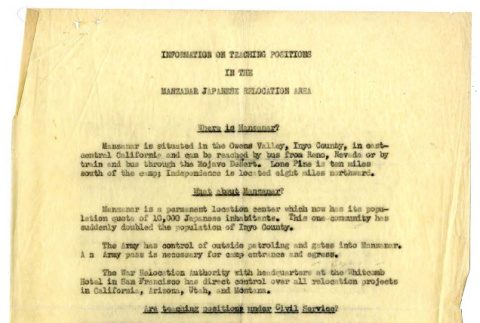 Information on teaching positons in the Manzanar Japanese relocation area (ddr-csujad-48-44)