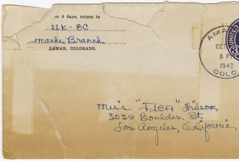 Letter (with envelope) to Mollie Wilson from Sandie Saito (October 17, 1942) (ddr-janm-1-12)