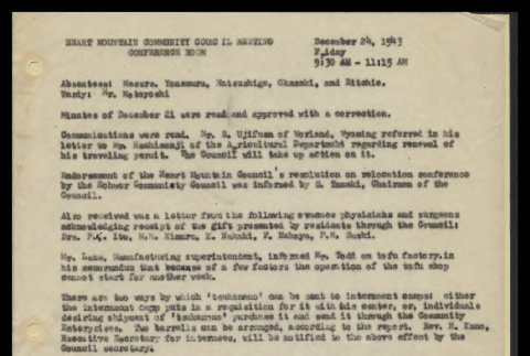 Minutes from the Heart Mountain Community Council meeting, December 24, 1943 (ddr-csujad-55-503)