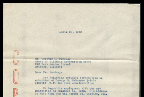 Letter from Daniel E. Talan, Assistant to Personnel Director, National Tea Co., to Chester L. Fordney, Deputy Director, Service Recognition Board, April 20, 1948 (ddr-csujad-55-2415)