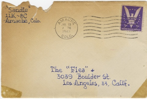 Letter (with envelope) to Molly Wilson from Sandie Saito (July 17, 1943) (ddr-janm-1-16)