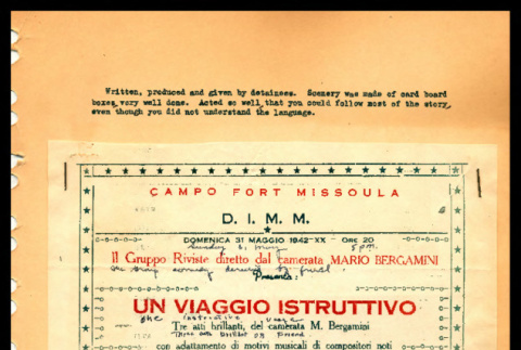 Program of play written, produced and given by Italian detainees at Ft. Missoula, Montana (ddr-csujad-55-1348)