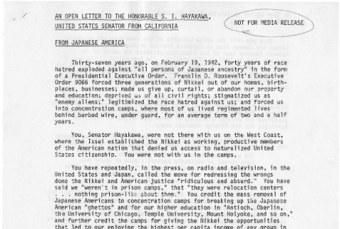Open letter to the Honorable  S. I. Hayakawa, United Senator from California (ddr-csujad-24-62)